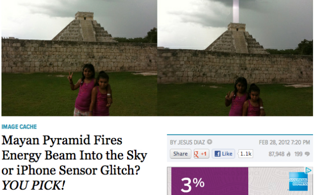 Folium: Mayan Pyramid Fires Energy Beam Into the Sky or iPhone Sensor Glitch? via Engadget.com