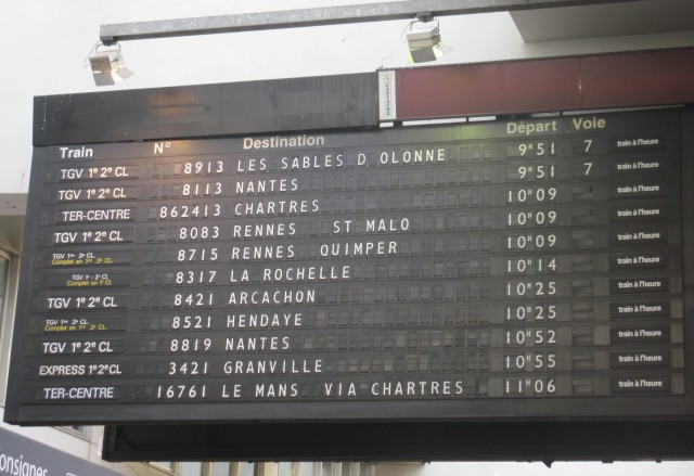 French Reading: Travel - TGV Train Schedule