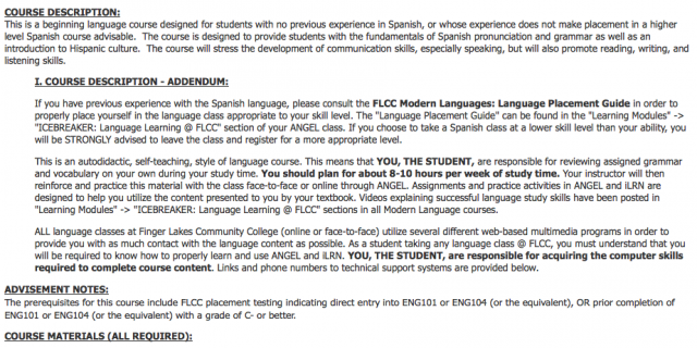 Instructional Resources: Modern Language Course Syllabus Guide