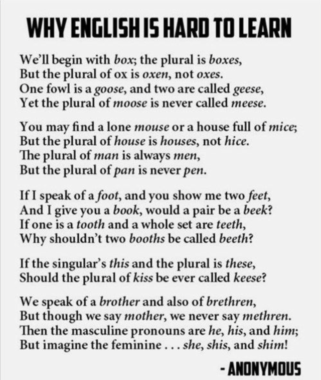 """Why English is Hard to Learn"""