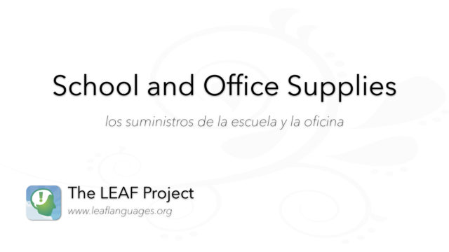 Spanish Photo Flashcards: School and Office Supplies