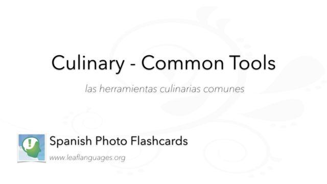 Spanish Photo Flashcards: Culinary - Common Tools