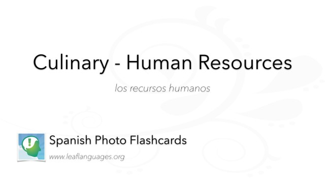 Spanish Photo Flashcards: Culinary - Human Resources