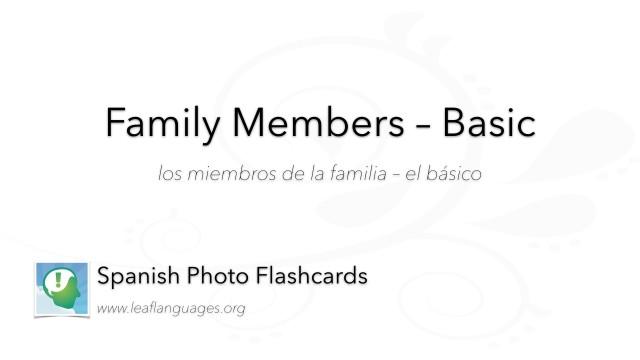 Spanish Photo Flashcards: Family Members - Basic