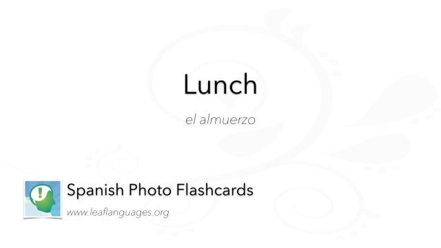 Spanish Photo Flashcards: Food - Lunch