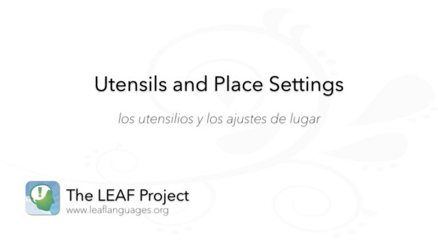 Spanish Photo Flashcards: Utensils and Place Settings
