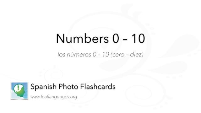Spanish Photo Flashcards: Numbers 0 - 10