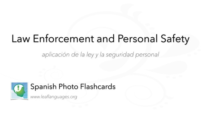 Spanish Photo Flashcards: Law Enforcement and Personal Safety