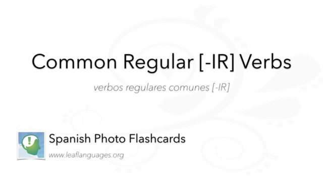 Spanish Photo Flashcards: Common Regular [-IR] Verbs