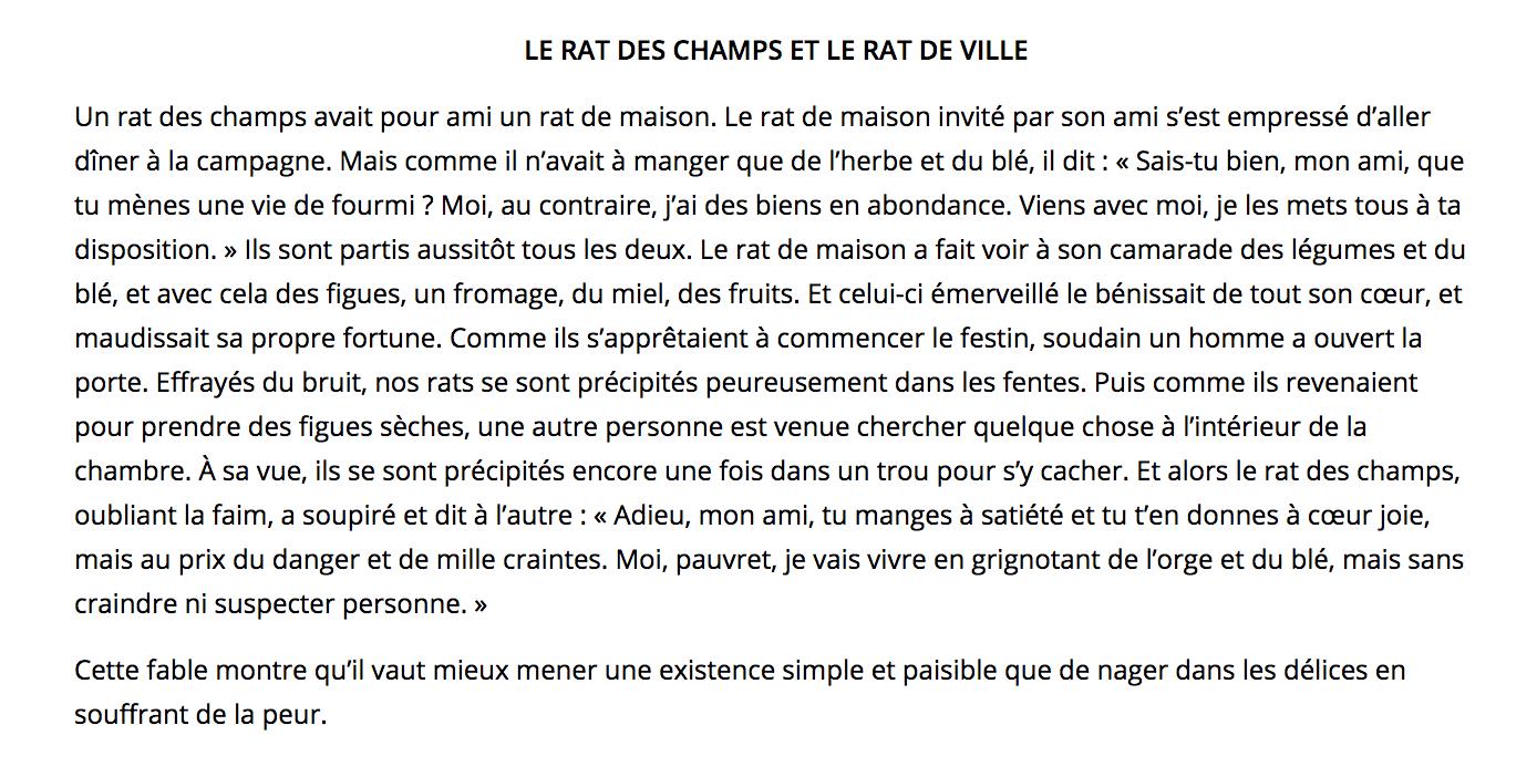 french reading selections le rat des champs et le rat de ville the leaf project. Black Bedroom Furniture Sets. Home Design Ideas