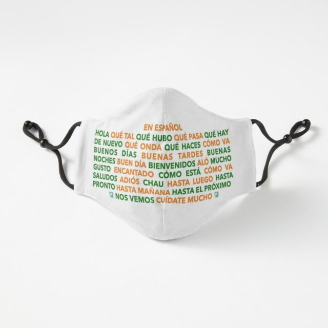 Hello and Goodbye in Spanish, Bold Orange and Green with a Very Light Shadow - Fitted Mask Design by LEAF Project Design
